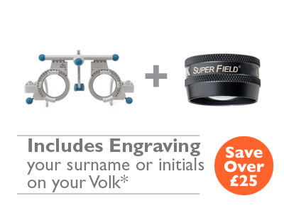 OFFER  2 <br>Oculus UB4 (42500) Trial Frame and Volk<br>Super Field (Black) with Engraving
